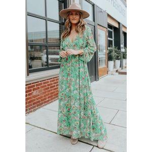 Free People Earthfolk Long Sleeve Maxi Dress XS